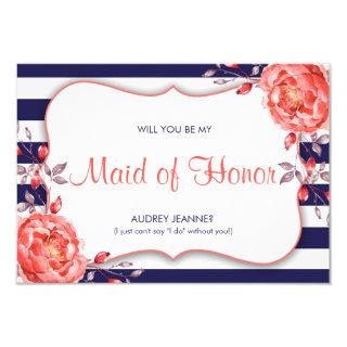 Navy And Coral Will You Be My Maid Of Honor Cards