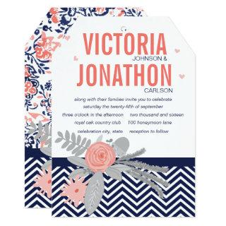 Navy and Coral Zigzag Chevron Floral Wedding Invitations