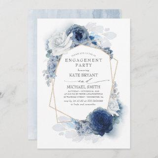 Navy and Dusty Blue Floral Modern Engagement Party Invitation