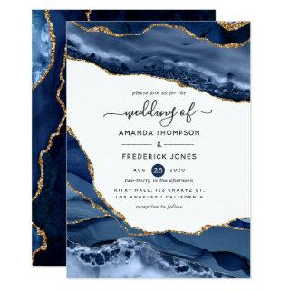 Navy and Gold Agate Wedding Invitations