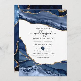 Navy and Gold Agate Wedding Invitation