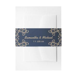 Navy and Gold Indian Inspired Invitations Belly Band