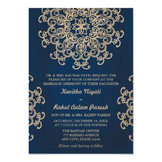 Navy and Gold Indian Inspired Wedding Invitations