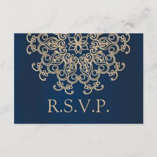 NAVY AND GOLD INDIAN STYLE WEDDING RESPONSE CARD
