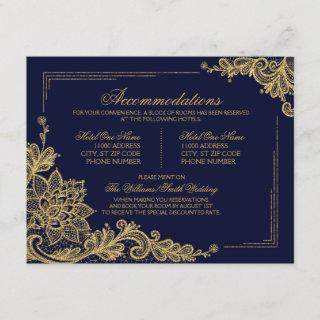 Navy and Gold Lace Accommodations Details Card
