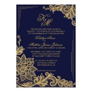 Navy and Gold Lace Wedding Invitations Card