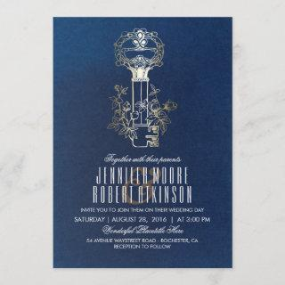 Navy and Gold Skeleton Key Vintage Wedding Invitation
