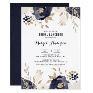 Navy and Ivory Flowers Gold Foil Bridal Luncheon Invitations