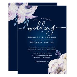 Navy and Lilac Rose Wedding Invitation