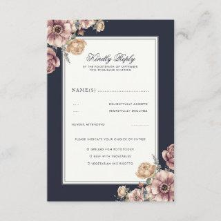 Navy and Mauve Floral Elegant Vintage Wedding RSVP