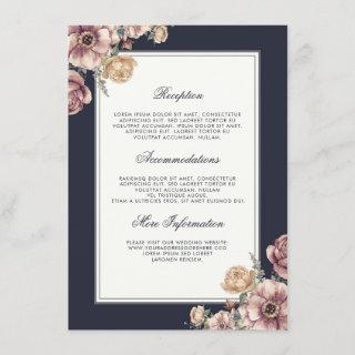 Navy and Mauve Floral Wedding Information Guest Enclosure Card