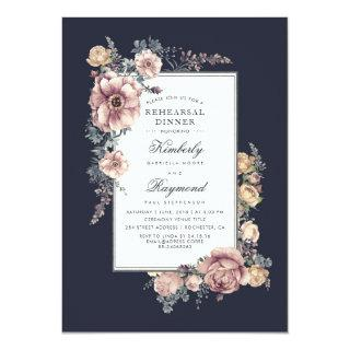 Navy and Mauve Vintage Floral Rehearsal Dinner Invitation