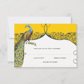Navy and Mustard Peacock Love Bird Pattern Wedding RSVP Card