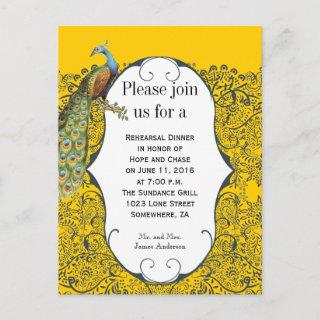 Navy and Mustard Yellow Peacock Rehearsal Dinner Invitation Postcard