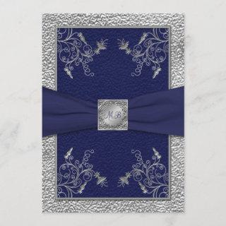 Navy and Pewter Monogrammed Wedding Invitations