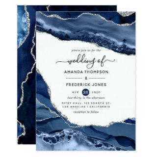 Navy and Silver Agate Wedding Invitations