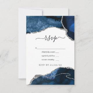 Navy and Silver Agate Wedding RSVP Card