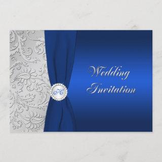 Navy and Silver Damask Monogram Wedding Invitations