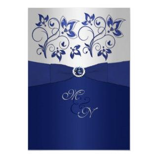Navy and Silver Floral Monogram Invitations