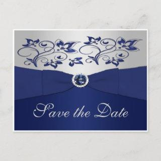 Navy and Silver Floral Save the Date Postcard