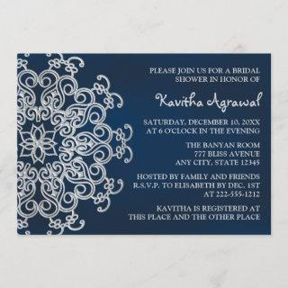 Navy and Silver Indian Inspired Bridal Shower Invitation