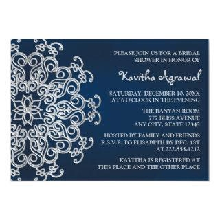 Navy and Silver Indian Inspired Bridal Shower Invitations