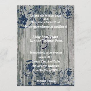 Navy and White Old Wood Wedding Invitations