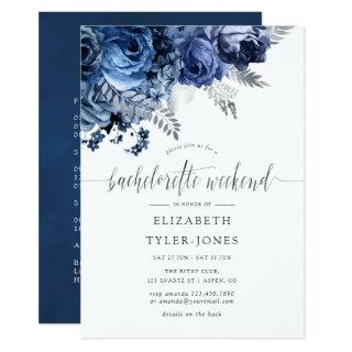 Navy and White with Silver Foil Bachelorette Party Invitation