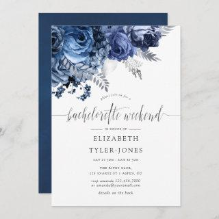 Navy and White with Silver Foil Bachelorette Party Invitations