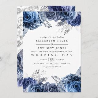 Navy and White with Silver Foil Floral Wedding Invitations