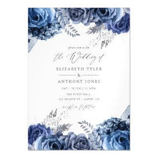 Navy and White with Silver Foil Floral Wedding Magnetic Invitations