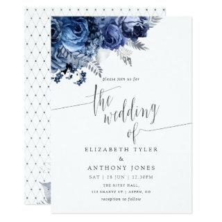 Navy and White with Silver Foil Wedding Invitations