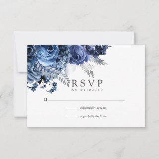 Navy and White with Silver Foil Wedding RSVP Card