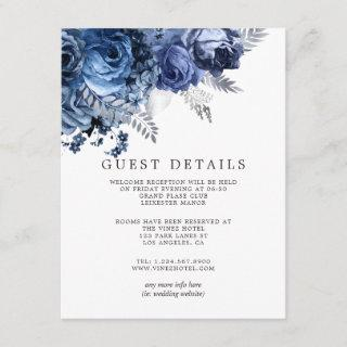 Navy and White with Silver Wedding Guest Details Enclosure Card