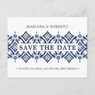 Navy Azulejo | Spanish Tile LACE SAVE THE DATE Announcement Postcard