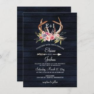Navy Blooming Antlers Country Chic Wedding Invitations