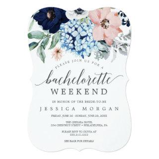 Navy Blooms Bachelorette Weekend Itinerary Invitations