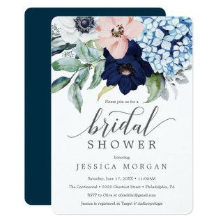 Navy Blooms Bridal Shower Invitations Card