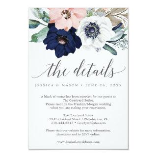 Navy Blooms Wedding Details Card