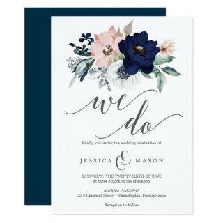 Navy Blooms Wedding Invitations