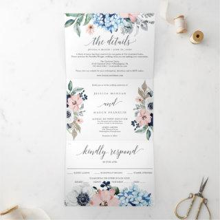 Navy Blooms Wedding Tri-Fold Invitations RSVP