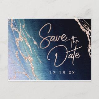 Navy Blue Agate Rose Gold Wedding Save the Date Announcement Postcard
