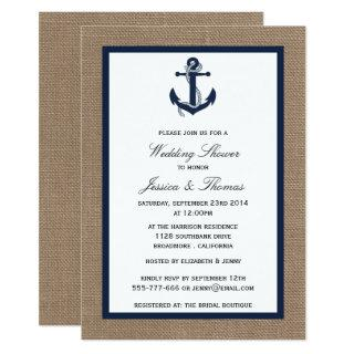Navy Blue Anchor On Burlap Nautical Wedding Shower Invitations