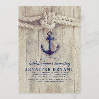 Navy Blue Anchor Rustic Nautical Bridal Shower Invitations
