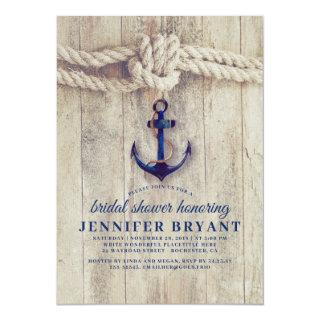 Navy Blue Anchor Rustic Nautical Bridal Shower Invitation