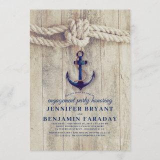 Navy Blue Anchor Rustic Nautical Engagement Party Invitations