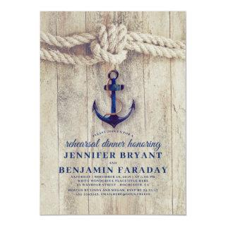 Navy Blue Anchor Rustic Nautical Rehearsal Dinner Invitations