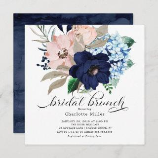 Navy Blue and Blush Flowers Bridal Brunch Invitations