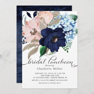 Navy Blue and Blush Flowers Bridal Luncheon Invitations