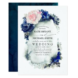 Navy Blue and Blush Pink Floral Boho Wedding Invitation